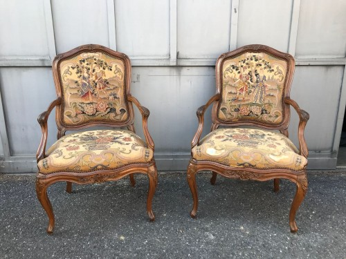 Seating  - Pair of Louis XV back armchairs
