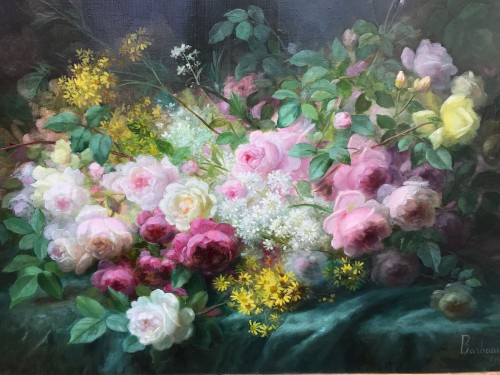 Paintings & Drawings  - Basket of flowers - M. E. BARBAUD KOCH (1862 - 1928)