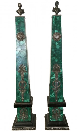 Pair of malachite, silver and black marble obelisks