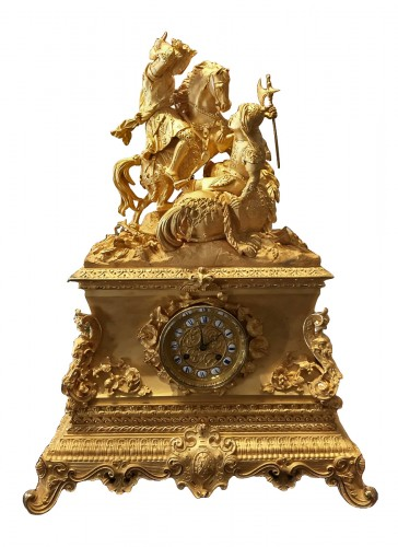 Large gilt bronze clock, mid-19th century