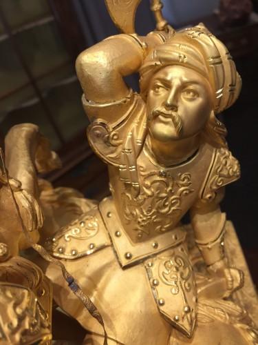 - Large gilt bronze clock, mid-19th century