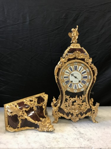 Large Louis XV Cartel and base in Kingwood and bronze - Clocks Style