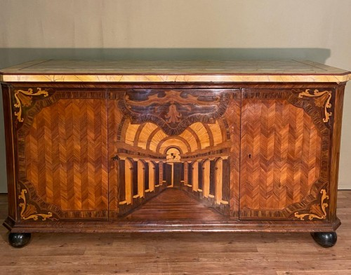 Large inlaid cabinet with doors, Germany 18th century -