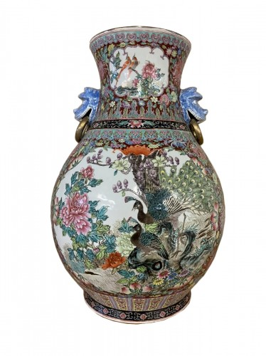 Grand vase polychrome Chine fin XIXe