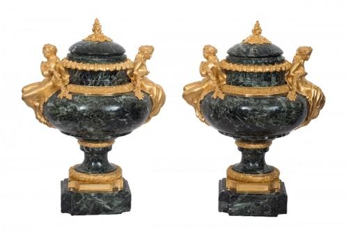 Pair Of Napoleon III Green Marble And Bronze Vases