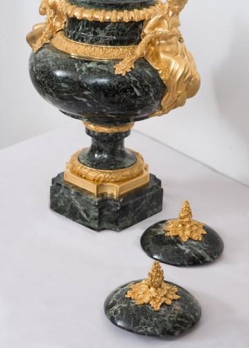 Curiosities  - Pair Of Napoleon III Green Marble And Bronze Vases