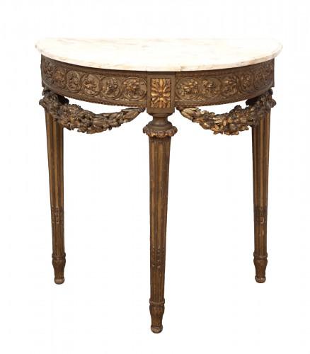 French Louis XVI Half Moon Console