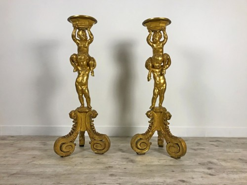 Pair of 18th century gueridons in carved and gilded wood - Decorative Objects Style Louis XV
