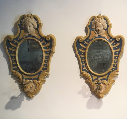 Two Italian Mirrors in papier maché - Mirrors, Trumeau Style Louis XVI