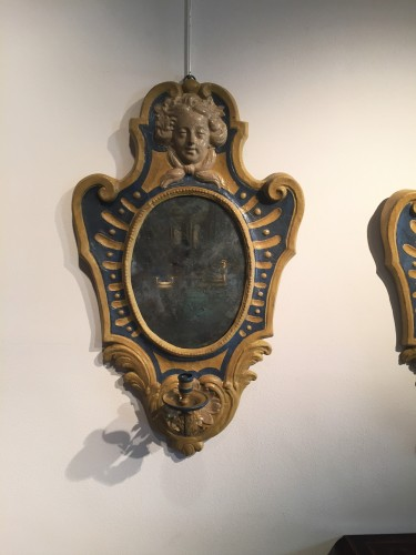 Mirrors, Trumeau  - Two Italian Mirrors in papier maché