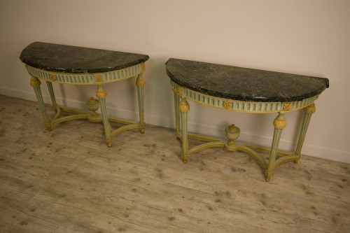 Furniture  - Pair of Neoclassical lacquered half-moons console table