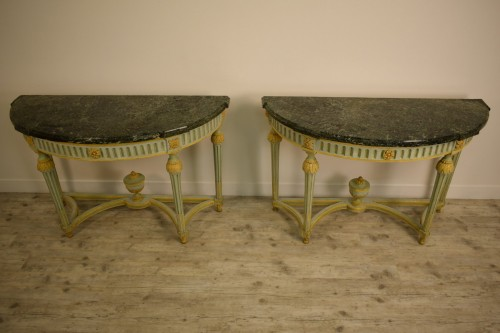 Pair of Neoclassical lacquered half-moons console table - Louis XVI