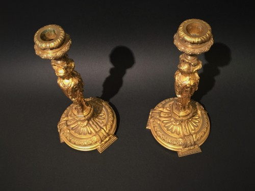 Pair of candlesticks in gilded bronze - Lighting Style Restauration - Charles X