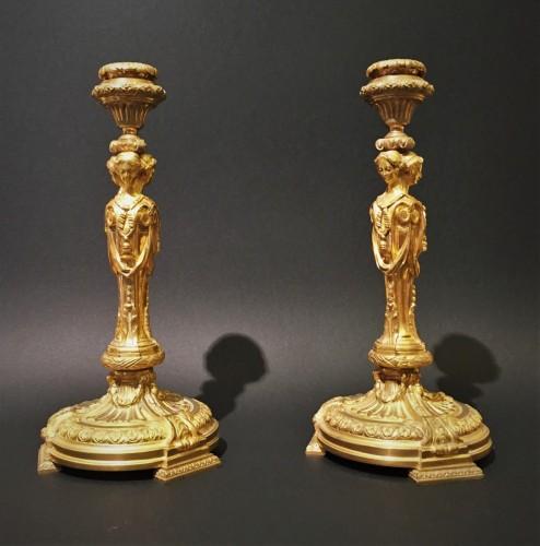 Pair of candlesticks in gilded bronze - Restauration - Charles X