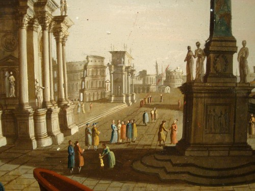 Painting on glass Roman architecture - Paintings & Drawings Style Louis XVI