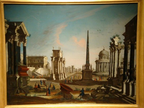 18th century - Painting on glass Roman architecture