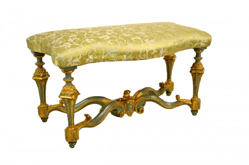 18th Century, Venetian lacquered and giltwood bench
