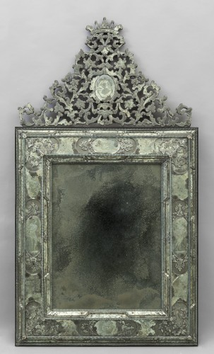 Pair of large Venetian mirrors, 18th century - Mirrors, Trumeau Style Louis XVI