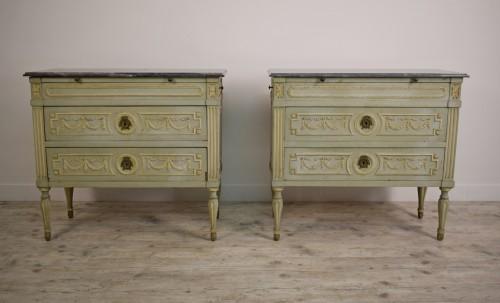 Paire De Petits Commodes Néoclassiques Italien - Furniture Style Louis XVI
