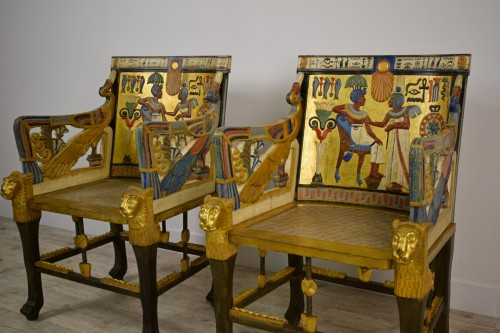 Pair of armchairs of Egyptian revival - 50