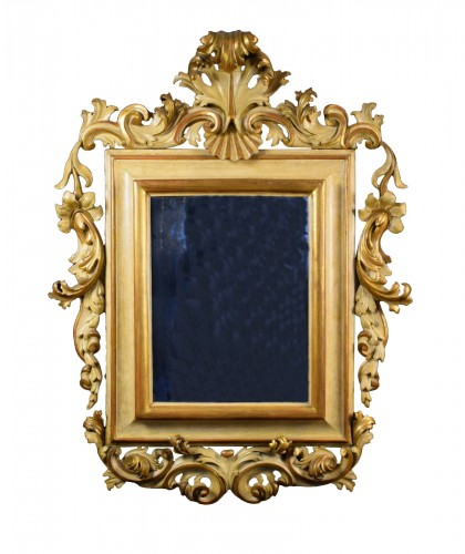 18th Century, Large italian rocaille lacquered and gilt wood mirror