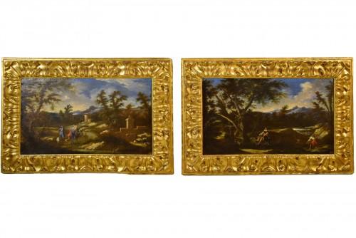 18th Cent., Italian Pair of Landscapes, attributed to Antonio Francesco Peruzzini