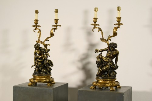 19th Century Pair of French Bronze Candlesticks Lamps Signée Clodion - Lighting Style Napoléon III