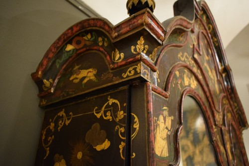 18th Century Polychrome Lacquered Wood Venice Bureau Cabinet - Furniture Style Louis XIV