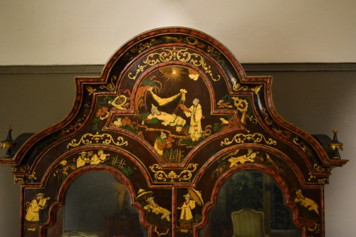 Furniture  - 18th Century Polychrome Lacquered Wood Venice Bureau Cabinet