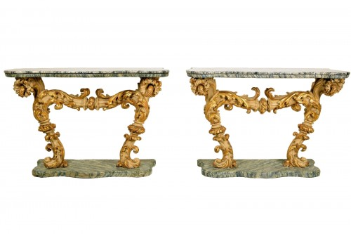 18th Cent, Pair of Lacquered and Giledd Wood Console