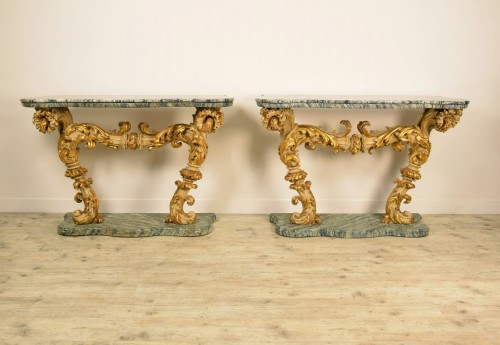 18th Cent, Pair of Lacquered and Giledd Wood Console - Furniture Style Louis XIV