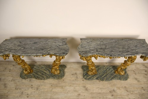 18th Cent, Pair of Lacquered and Giledd Wood Console - Louis XIV