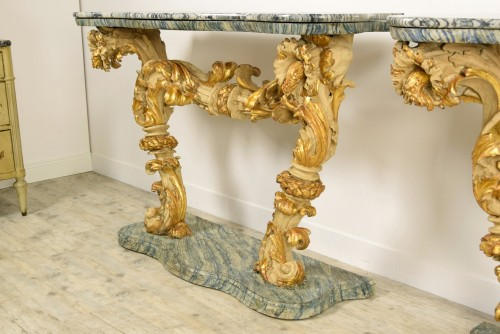 Louis XIV - 18th Cent, Pair of Lacquered and Giledd Wood Console