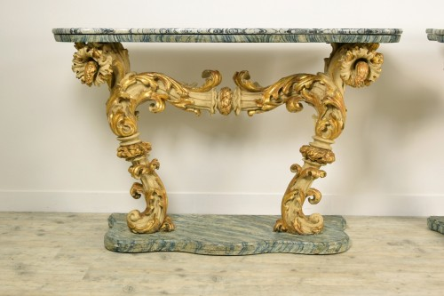 Antiquités - 18th Cent, Pair of Lacquered and Giledd Wood Console