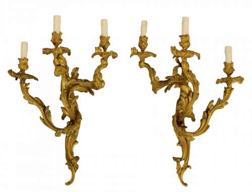 Pair Of  Wall Lamps In Gilded Bronze With Three Lights, Louis XV Style