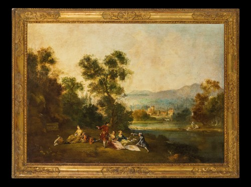 Country and river landscapes - Venetian school of the 19th century - Paintings & Drawings Style