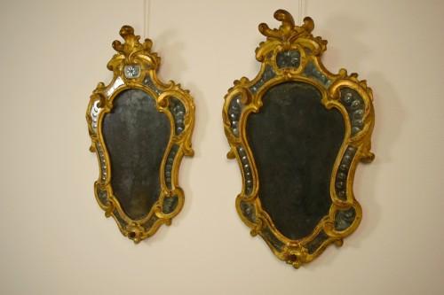 18th century - Pair of 18th Century Piedmontese Gilt Wood mirror
