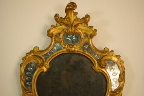 Louis XV - Pair of 18th Century Piedmontese Gilt Wood mirror