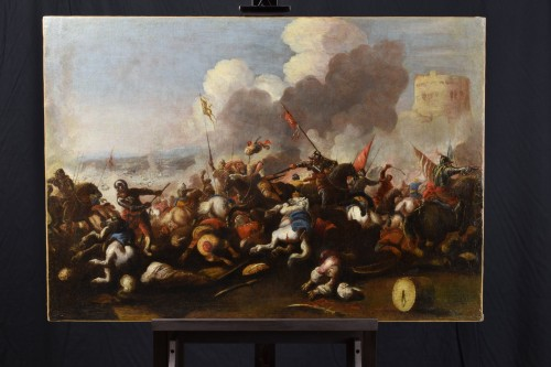 Antonio Calza (1653 – 1725) - Battle between Christian and Turkish cavalry  - Paintings & Drawings Style Louis XIV