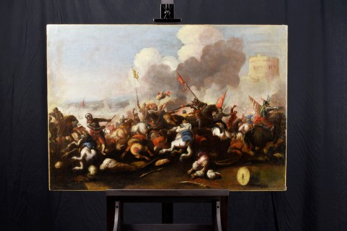 Paintings & Drawings  - Antonio Calza (1653 – 1725) - Battle between Christian and Turkish cavalry
