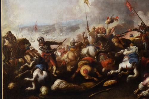 Antiquités - Antonio Calza (1653 – 1725) - Battle between Christian and Turkish cavalry