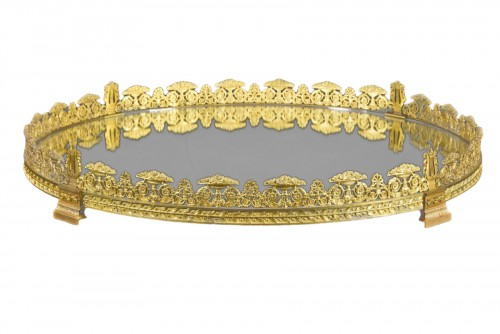 19th, Circolar Ormolu bronze French Centerpiece with Mirror