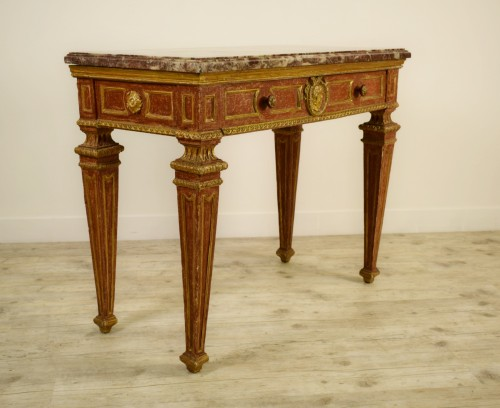 18th Century, Italian gilded and red Lacquered Wood with marble top - Furniture Style Empire