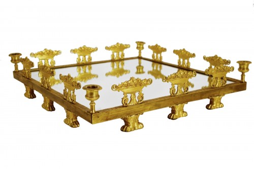 19th, Square Ormolu Bronze French Centerpiece with Mirror