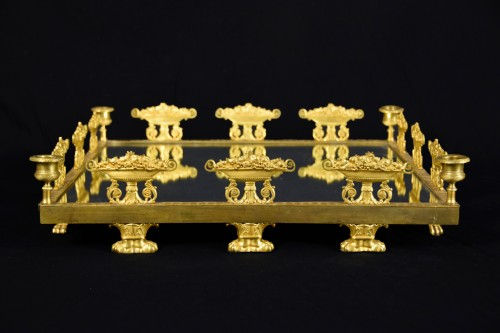 19th, Square Ormolu Bronze French Centerpiece with Mirror  - Decorative Objects Style Empire