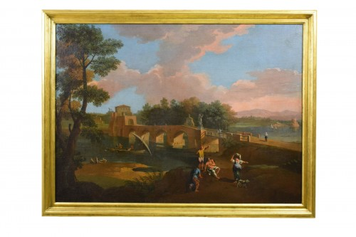 18th, Roman Follower of Paolo Anesi, Roman Landscape With Milvio Bridge