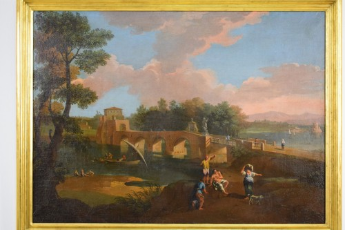18th, Roman Follower of Paolo Anesi, Roman Landscape With Milvio Bridge - Paintings & Drawings Style Louis XV