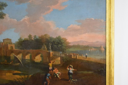 18th, Roman Follower of Paolo Anesi, Roman Landscape With Milvio Bridge -