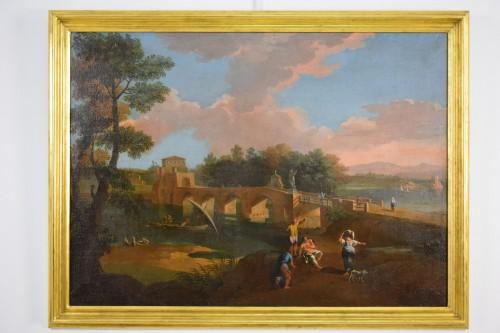 18th century - 18th, Roman Follower of Paolo Anesi, Roman Landscape With Milvio Bridge
