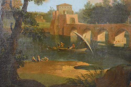 18th, Roman Follower of Paolo Anesi, Roman Landscape With Milvio Bridge - Louis XV